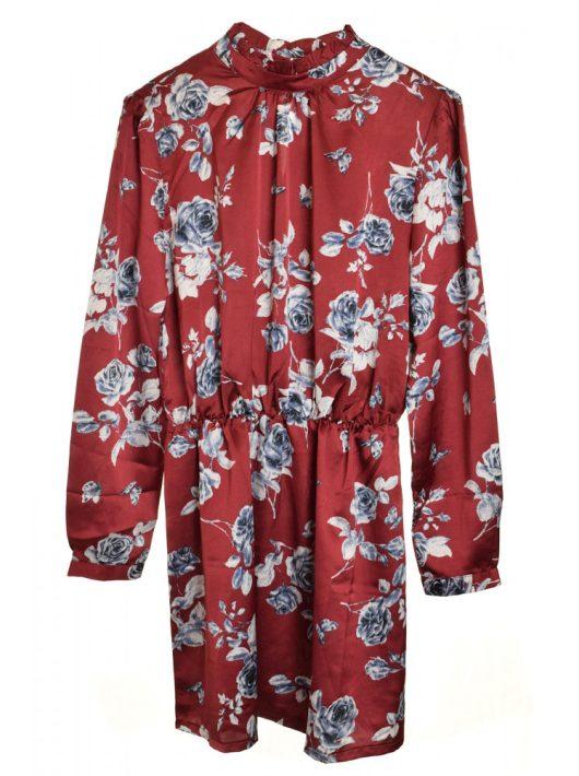 Sisters Point vörös, virágmintás női tunika ruha – L