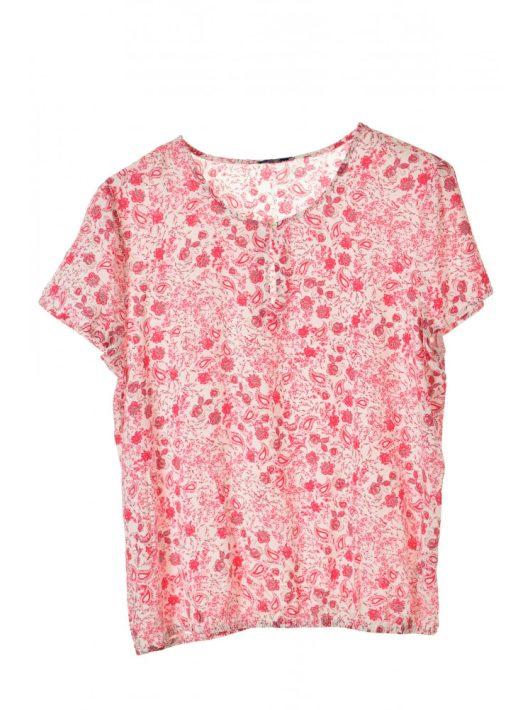 Montego fehér, pink virágmintás női blúz – 44